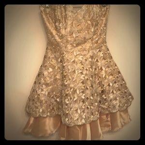 Gorgeous custom strapless gold evening dress